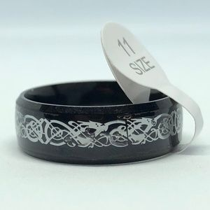Black SS White Celtic Dragon Band Ring Size 11